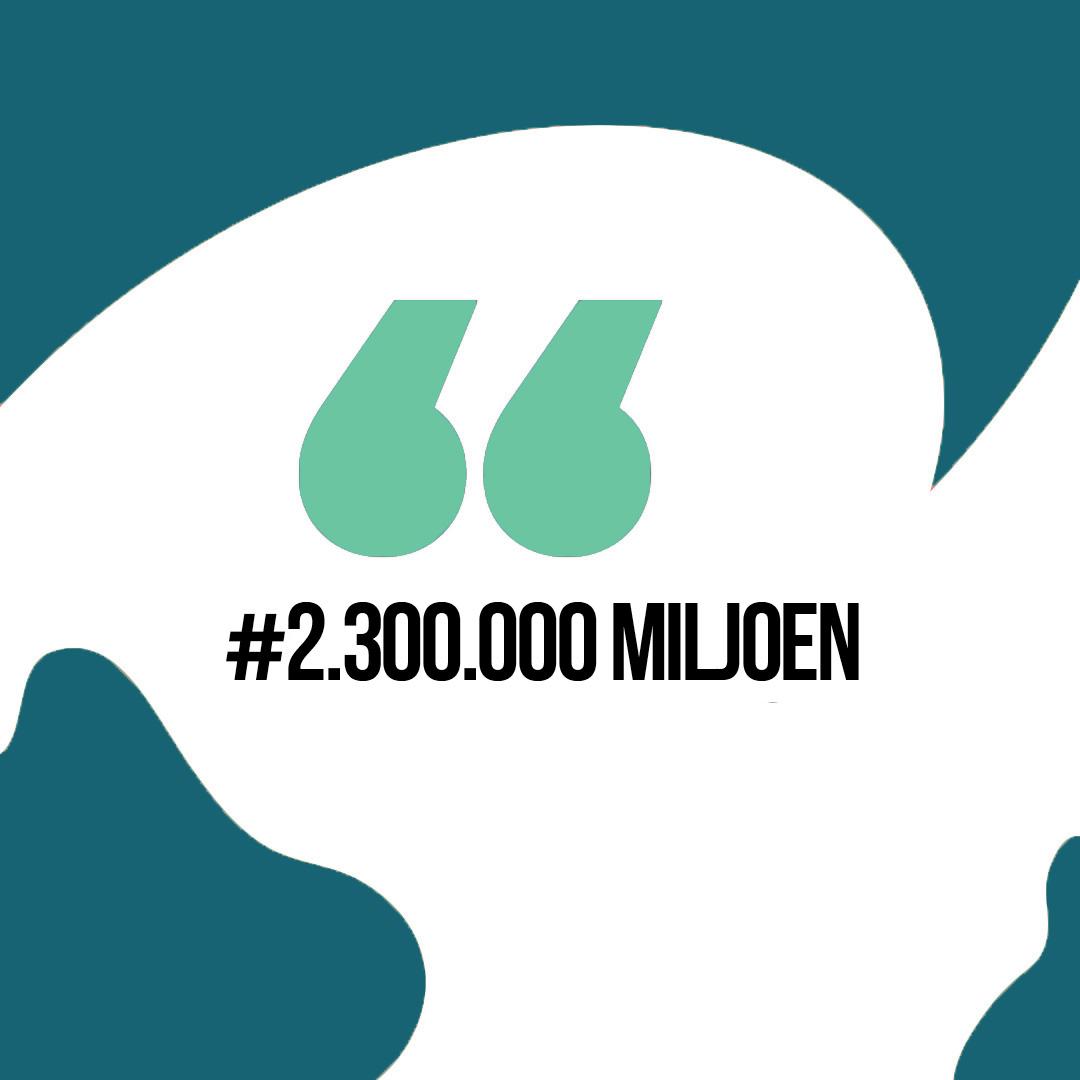 De teller staat op 2.300.000 Miljoen!